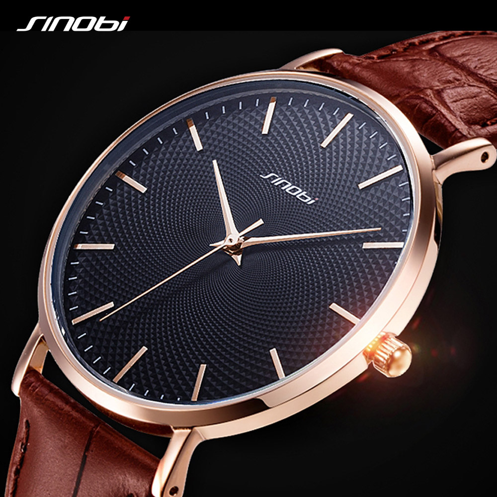 SINOBI New Netting Printed Simple Design Men Watches 316L Steel Leather Waterproof Watch Male Imported Quartz Watch Clock Gifts