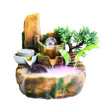 110V/220V Resin Rockery Water Fountain Living Room Office Tabletop Ornaments Micro Landscape Lucky Feng Shui Fountain Home Decor