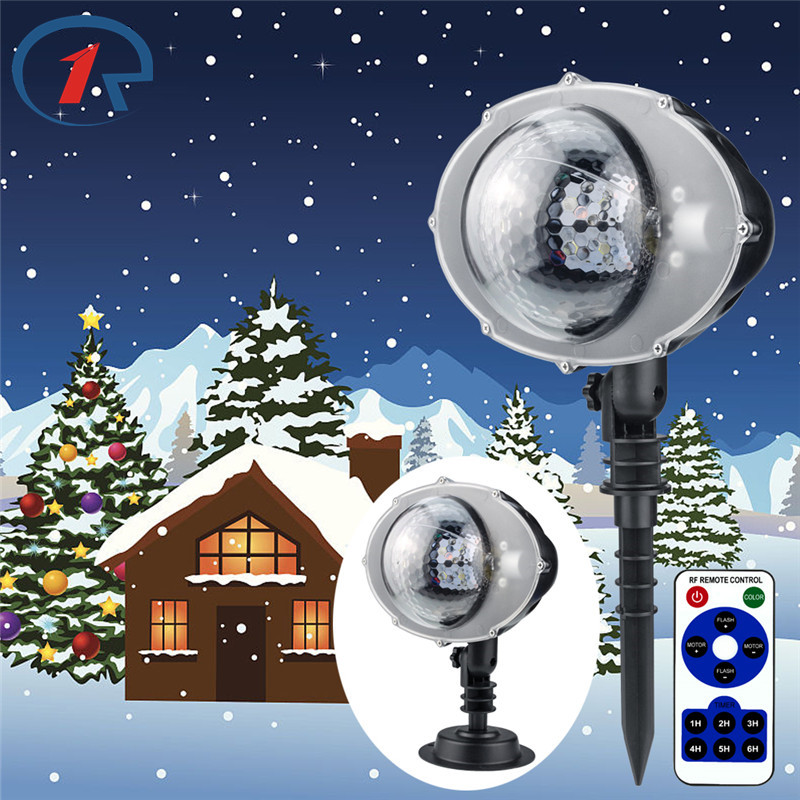 ZjRight Snowfall Projector Moving Snow Outdoor Garden Projector Lamp Christmas Snowflake Lights Xmas New Year Party stage lights