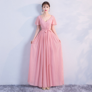 Image 5 - Korean Style Women Summer Party Sexy Wedding Guest Pearl Chiffon Long Blue Pink Bridesmaid Dresses Vestido Madrinha