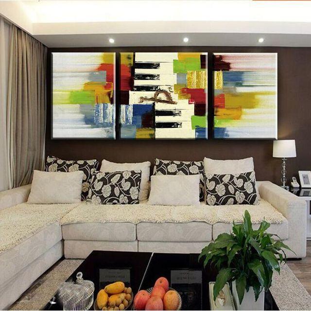 US $36.8 20% OFF|Moderne Familie Abstrakte Handgemalte 3 Platten Ölgemälde  Auf Leinwand Portiart Bilder Wandkunst Dekoration Für Wohnzimmer in ...