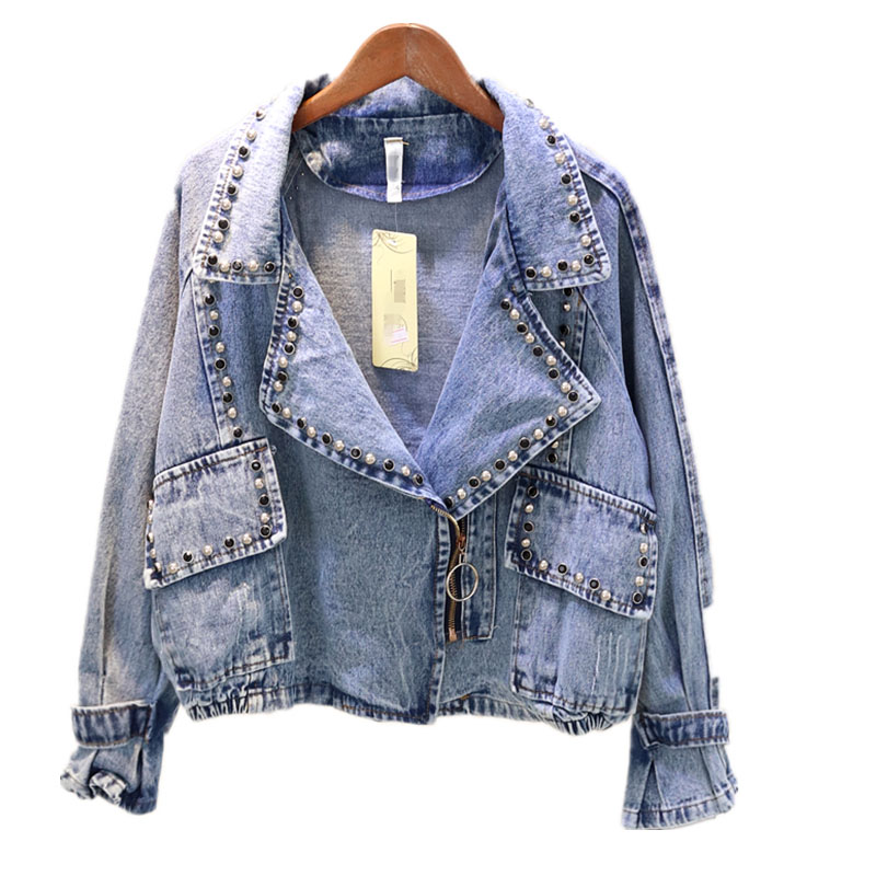 2019 Autumn Streetwear Fashion Heavy manual rivet studded denim   Jacket   Spring Denim Womens   basic     Jacket   coat Loose Coat Female