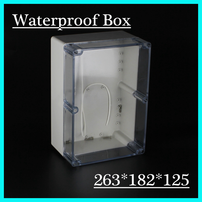 (1 piece/lot) 263*182*125mm Clear ABS Plastic IP65 Waterproof Enclosure PVC Junction Box Electronic Project Instrument Case 1 piece lot 160 110 90mm grey abs plastic ip65 waterproof enclosure pvc junction box electronic project instrument case