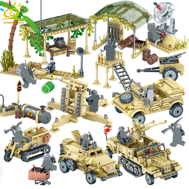 HUIQIBAO TOYS Army Building Blocks For Children Military Truck Vehicle Motorcycle Soldier Weapons Brick set