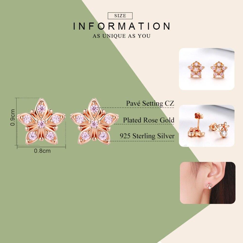 WOSTU Real 925 Sterling Silver Sakura Flower Earrings Rose Gold Tiny Stud Earrings For Women Wedding Party Luxury Jewelry CTE034 1
