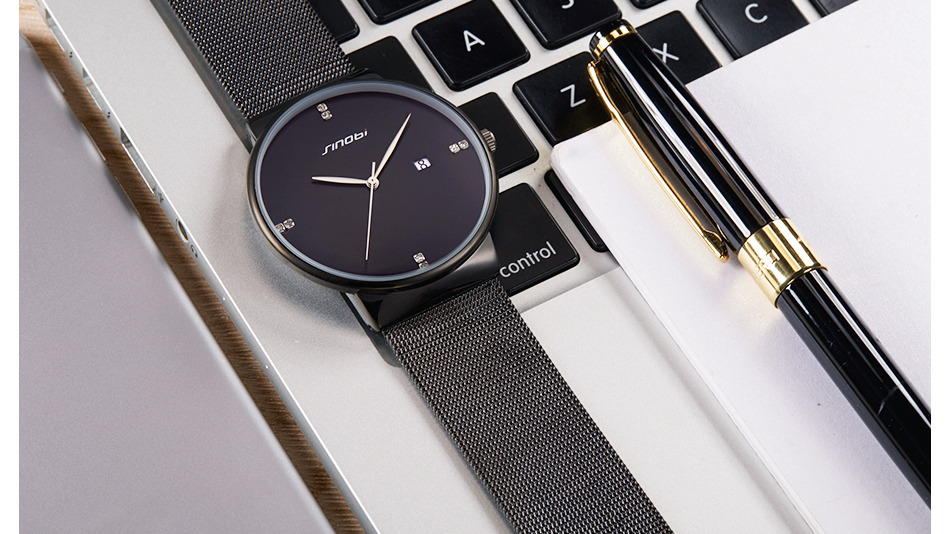 SINOBI Men Quartz Watch Luxury Top Brand Fashion Mesh Delicate Ultra-thin Business Watch Full Stainless Steel Male Wrist Watches 16