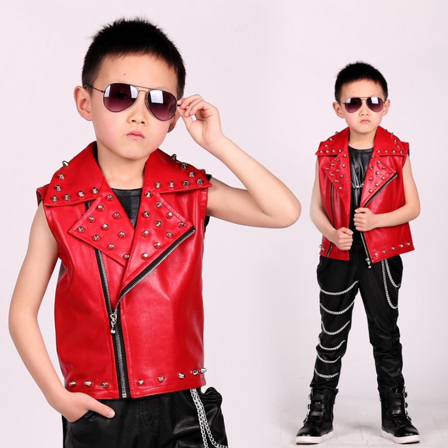 Boys Hip-hop Leather Jacket Rivet Vest Coat 2019 New Childrens Performance Clothing Dance Waistcoat Modis Kids Cothes Y1234Boys Hip-hop Leather Jacket Rivet Vest Coat 2019 New Childrens Performance Clothing Dance Waistcoat Modis Kids Cothes Y1234