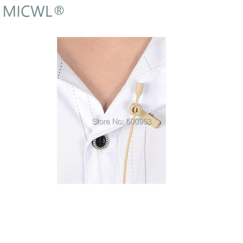 High Quality Omnidirectional Beige Tie Clip Lapel Lavalier Microphone Mic for Audio Technica Sennheise Shure MiPro Free Shipping in Microphones from Consumer Electronics