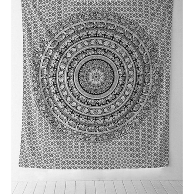 Bedspread Shawl women scarf Table cloths Indian tapestry Black And White  Elephant Bohemian Tapestry Wall Hanging Mandala Towel 442a62b6a3