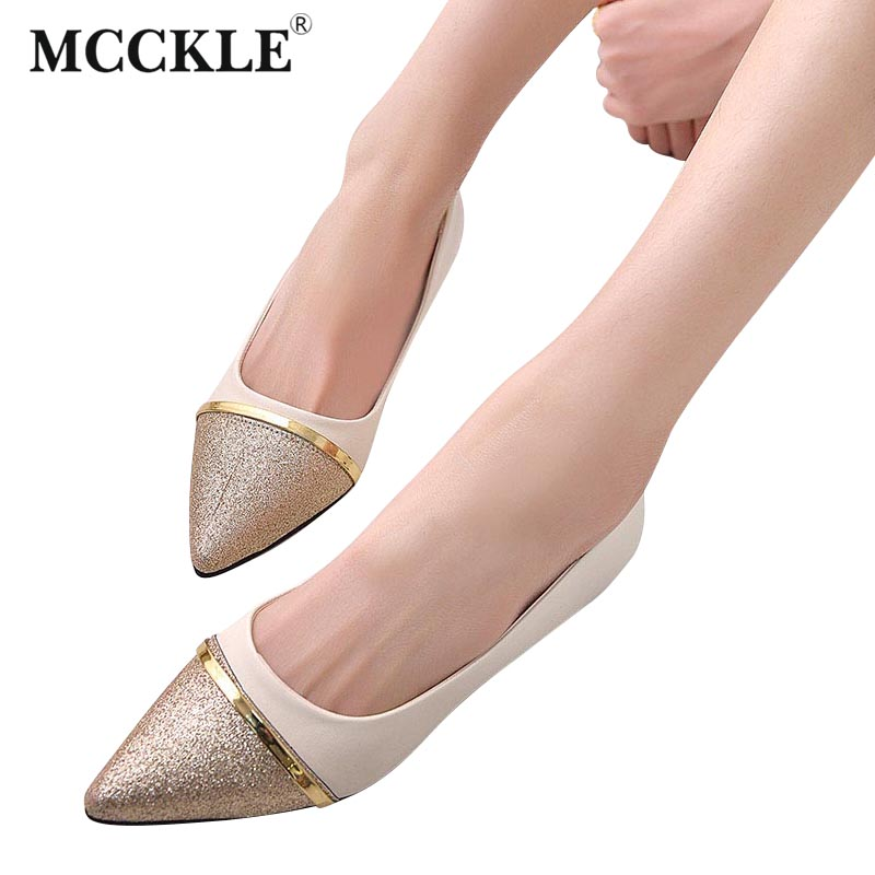 MCCKLE 2017 New Fashion Women Low Heels Sexy Office Dress Pumps Female Pionted Toe Bling Sequined Slip On Shoes Woman Black Shoe