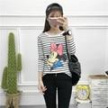 Otoño Invierno Encantador del ratón de minnie de impresión Blanco Moda Mujeres Traje Casual Camisetas de la raya Harajuku camiseta Sudaderas Chaqueta A