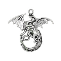 15pcs-Antique Tibetan Silver Plated Fly Dragon Charms Pendant 46x43mm