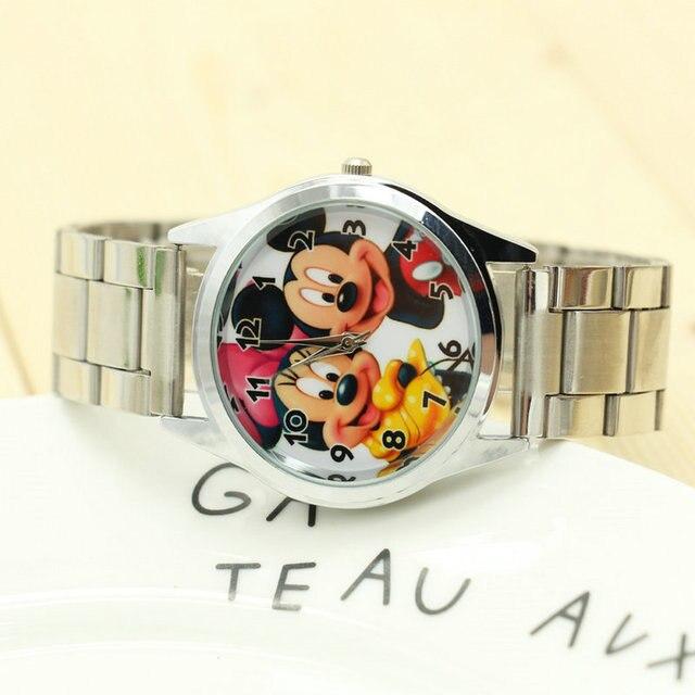 1PCS Cartoon Minnie mickey watch girls Stainless steel watch fashion table ladie