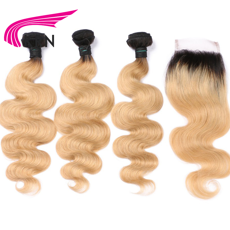 KRN 1B 27 Color Brazilian Human Hair 3 Pieces Bundles With Lace Closure Body Wave Remy Hair Extension Full End Fast Shipping