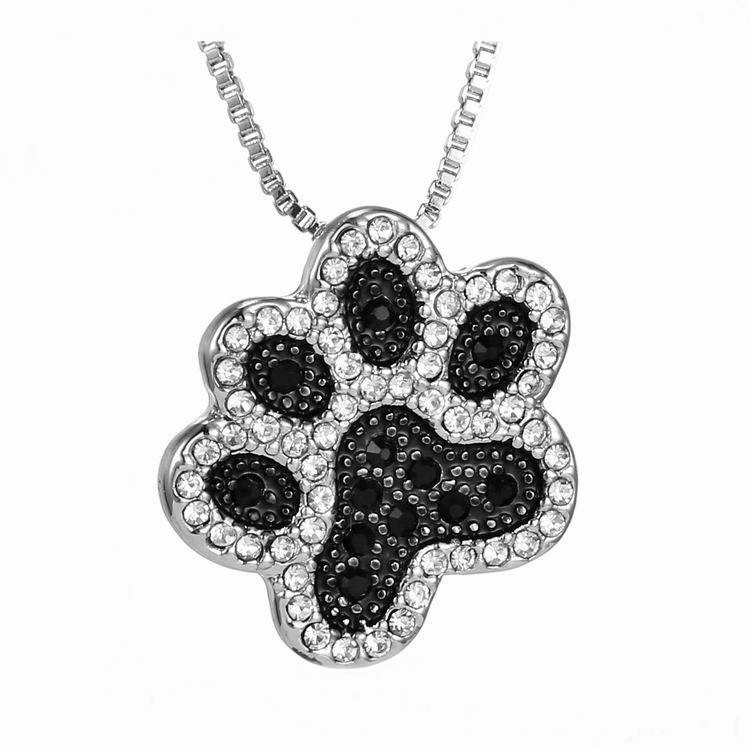 NEW LOVELY CAT PAW BLACK WHITE 2 CAT ON HEART CRYSTAL PENDANT NECKLACE-Cat Jewelry-Free Shipping NEW LOVELY CAT PAW BLACK WHITE 2 CAT ON HEART CRYSTAL PENDANT NECKLACE-Cat Jewelry-Free Shipping HTB1JHNELFXXXXbvXFXXq6xXFXXXb