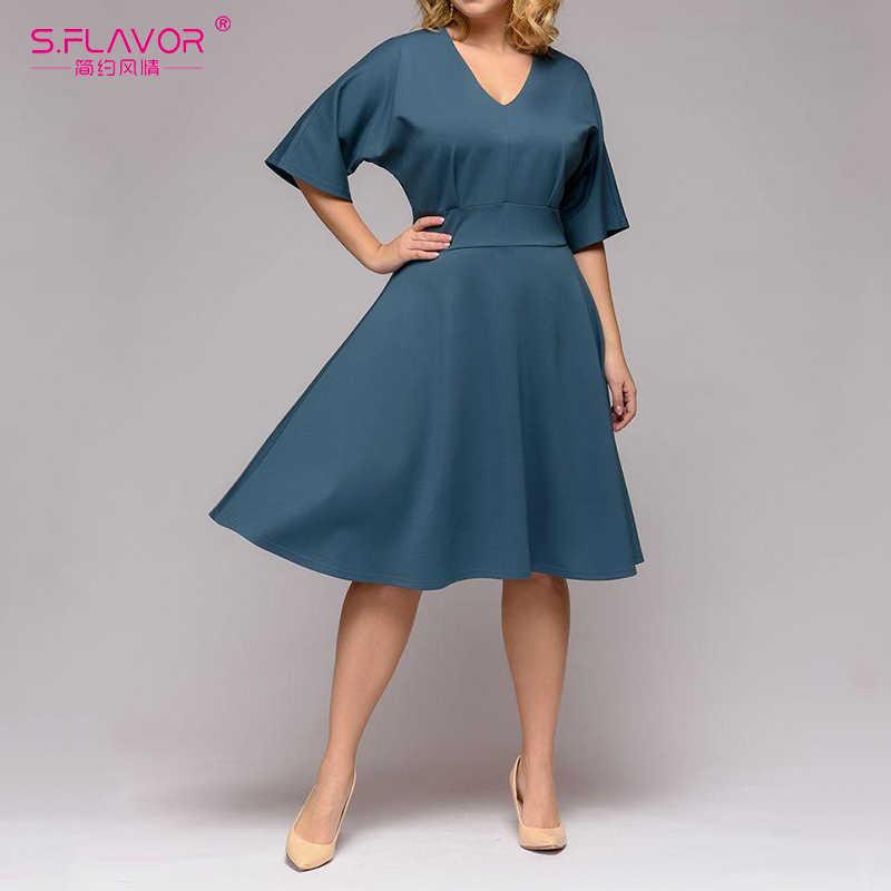 S. FLAVOR mujeres cuello en V Media manga longitud de la rodilla vestido Casual de talla grande XL-5XL Vintage una línea vestido de fiesta de Primavera Verano