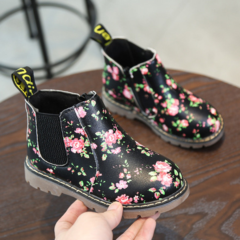 Child Baby Girls Shoes Fashion Leather Floral Kids Shoes Martin Boots Casual Children Booties Toddler Anti-Slip BFOF