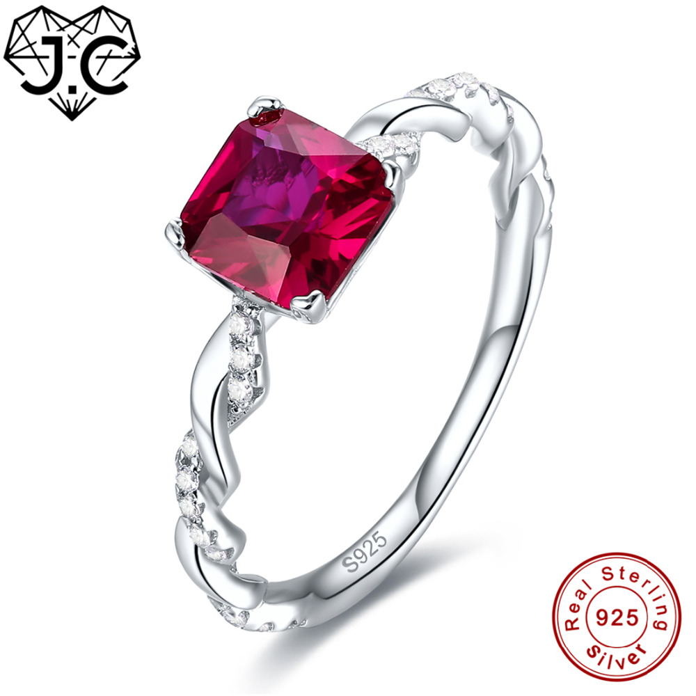 J.C New Fashion Princess Cut Ruby Spinel & Emerald Solid 925 Sterling Silver Ring Size 6 7 8 9 Women Bridal Wedding Jewelry Gift