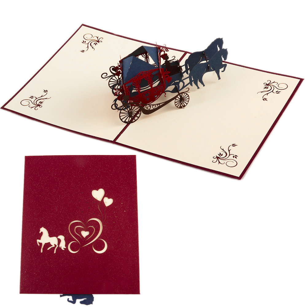 3D Greeting Card Wedding Party Invitation Carriage Letter Elegant ...