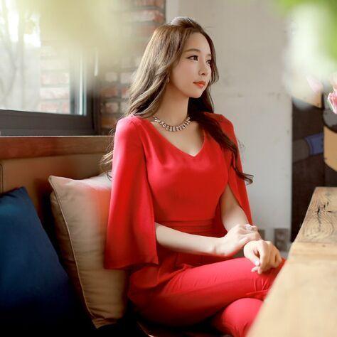 Original Nuevo 2016 Marca Monos Más El Tamaño Delgado Rojo Elegante de la Manera Gasa de Las Mujeres de la Oficina Manto Jumpsuits Verano Al Por Mayor