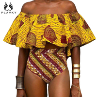 PLAVKY Sexy Yellow Aztec Striped Ruffled Off Shoulder Biquini African Bathing Suit Swimsuit Swimwear Women High