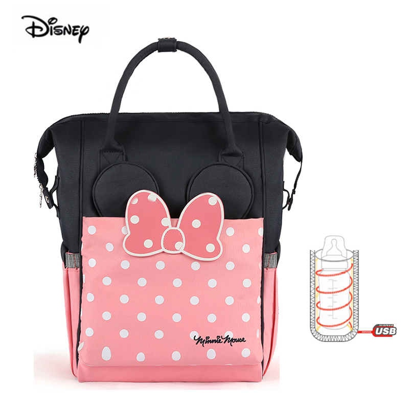 Disney 2019 Minnie Fashion Mother Bag Large Capacity USB Heater Insulation Pink Diaper Nappy Backpack Baby Bag For Mom