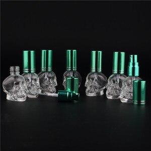 Image 4 - 1 adet 8 ML 10 Renkler Mini Seyahat Benzersiz Kişilik Kafatası Şekli Boş Cam Parfüm Şişesi Küçük Örnek Taşınabilir Parfüm şişeler