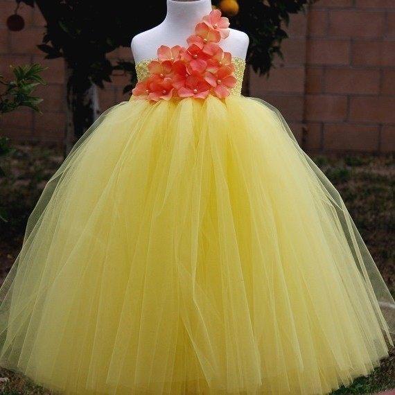 Online shop new girls yellow flowers long tutu dresses kids fluffy yellow princess girl tutu dress flower girl dress mightylinksfo