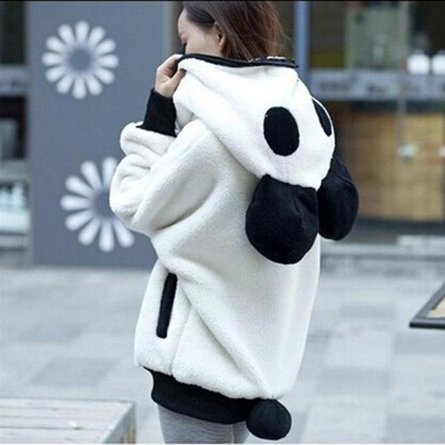 b62ff0a9031 Winter 2016 Korean Winter Lovely Zipper Panda Plush Batwing sleeve Female  students Outwear Hoodies Plus size Free shipping-in Hoodies & Sweatshirts  ...