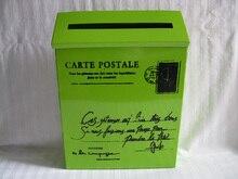 22X6.5XH29CM Green Postal Box Mailbox Metal Easter Party Decoration St. Patricks Day Ornament