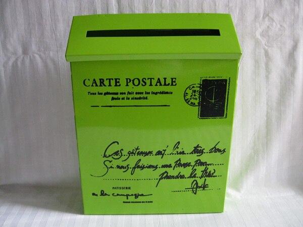 22X6.5XH29CM vert boîte postale boîte aux lettres métal pâques fête décoration saint Patrick ornement