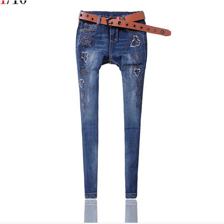 ФОТО European station autumn and winter fashion brand cotton embroidery gold-plated jeans female stretch female Pencil jeans w1911