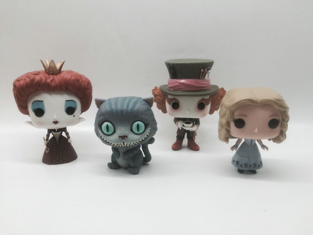 Imperfetto Funko POP di Seconda Mano Alice Through the Looking Glass Alice nel Paese Delle Meraviglie 2 Mad Hatter Cheshire Cat Rosso Queen No box
