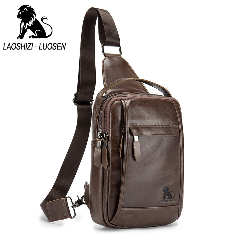 LAOSHIZI LUOSEN Vintage Chest Bag Pack Men Shoulder Bag Male Small Oil Wax Genuine Leather Messenger Crossbody Retro Sling bag the imported oil wax pattern leather singel shoulder satchel small men s messager bag retro 7 inch for outdoor tourism