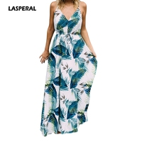 LASPERAL 2017 Long Dresses Boho Sexy Ladies Turquoise Tropical Leaf Print Sexy V Neck Maxi Beach