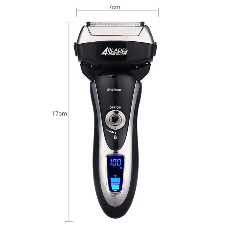 Waterproof Electric Shaver with Four Blades Rechargeable Shaver with LCD Display Electric Razer for Men Trimmer