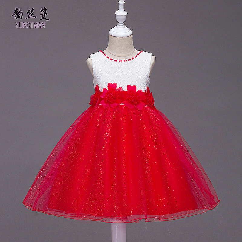 Elegant   Flower     Girl     Dresses   3 5 7 9 11 12 to 14 Years New Red Purple Lace Princess   Dress   kids Teens Birthday Party Costume 1C10