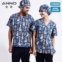 ANNO 5XL размера плюс медицинская одежда униформа медсестры с мультяшными собаками набор спецодежды Медицинские костюмы футболка брюки Клиническая форма