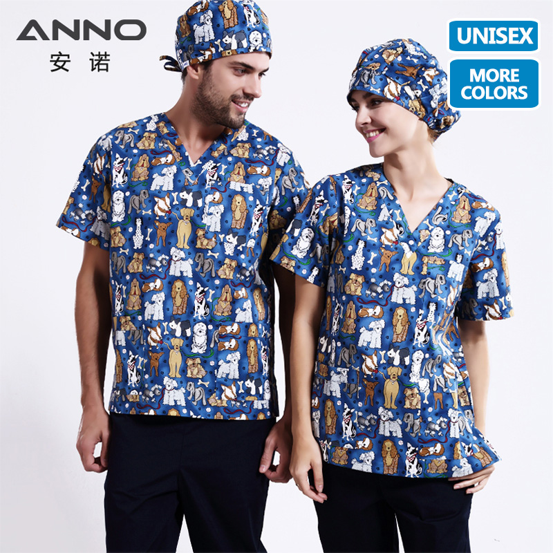 ANNO 5XL Plus Size Medical Clothes Nurse Uniform With Cartoon Dog Scrubs Set Medical Costumes T Shirt Pant Clinical Uniforms