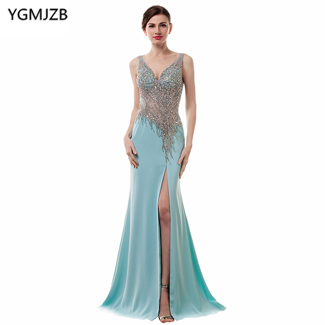 ffd63410c775a See Through Evening Dresses 2019 Mermaid V Neck Spaghetti Strap Side Split  Backless Beaded Chiffon Long Evening Gown Prom Dress