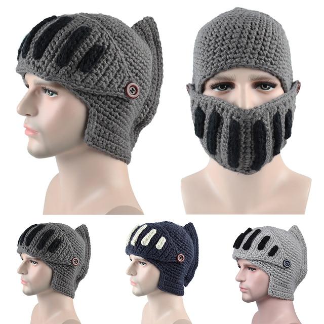 3d7b5d73dc5 Handmade Gladiator Helmet Roman Knight hat men winter fashion Knit Hat Warm  Mouth Mask Beanies Ski