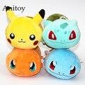4 unids/lote Anime Pikachu Monsters Bulbasaur Charmander Squirtle Plush Dolls con Colgantes de Cadena de Juguetes de Peluche Suave Regalo de Los Cabritos AP0088