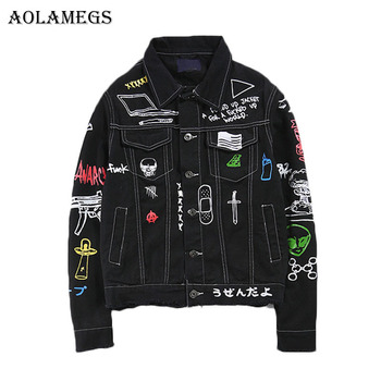 Aolamegs Men Denim Jacket Men's Graffiti Hip Hop Cowboy Jackets Fashion Male Jacket Turn-down Collar Cotton Outwear Ripped 2017