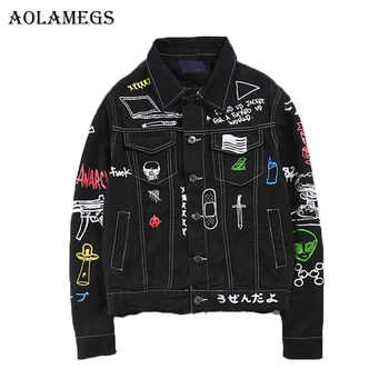Aolamegs Men Denim Jacket Men\'s Graffiti Hip Hop Cowboy Jackets Fashion Male Jacket Turn-down Collar Cotton Outwear Ripped 2017 - DISCOUNT ITEM  28 OFF Men\'s Clothing