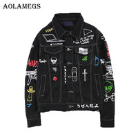 Aolamegs Men Denim Jacket Men's Graffiti Hip Hop Cowboy Jackets Fashion Male Jacket Turn down Collar Cotton Outwear Ripped 2017