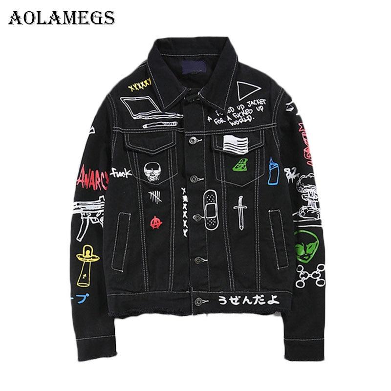 Aolamegs hombres Denim chaqueta de los hombres Graffiti Hip Hop vaquero chaquetas de moda de hombre chaqueta de giro-abajo Collar de algodón Outwear arrancó 2017