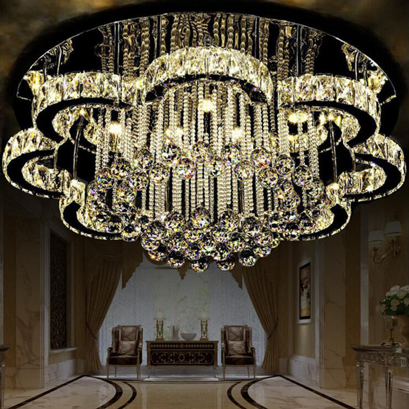 New led ceiling lamp living room lighting simple modern crystal lamp round European bedr ...