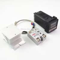 Цифровой ПИД-REX-C100 100-240 В переменного тока регулятор температуры + Макс. 40 А ССР + K термопара, ПИД-контроллер + радиатор