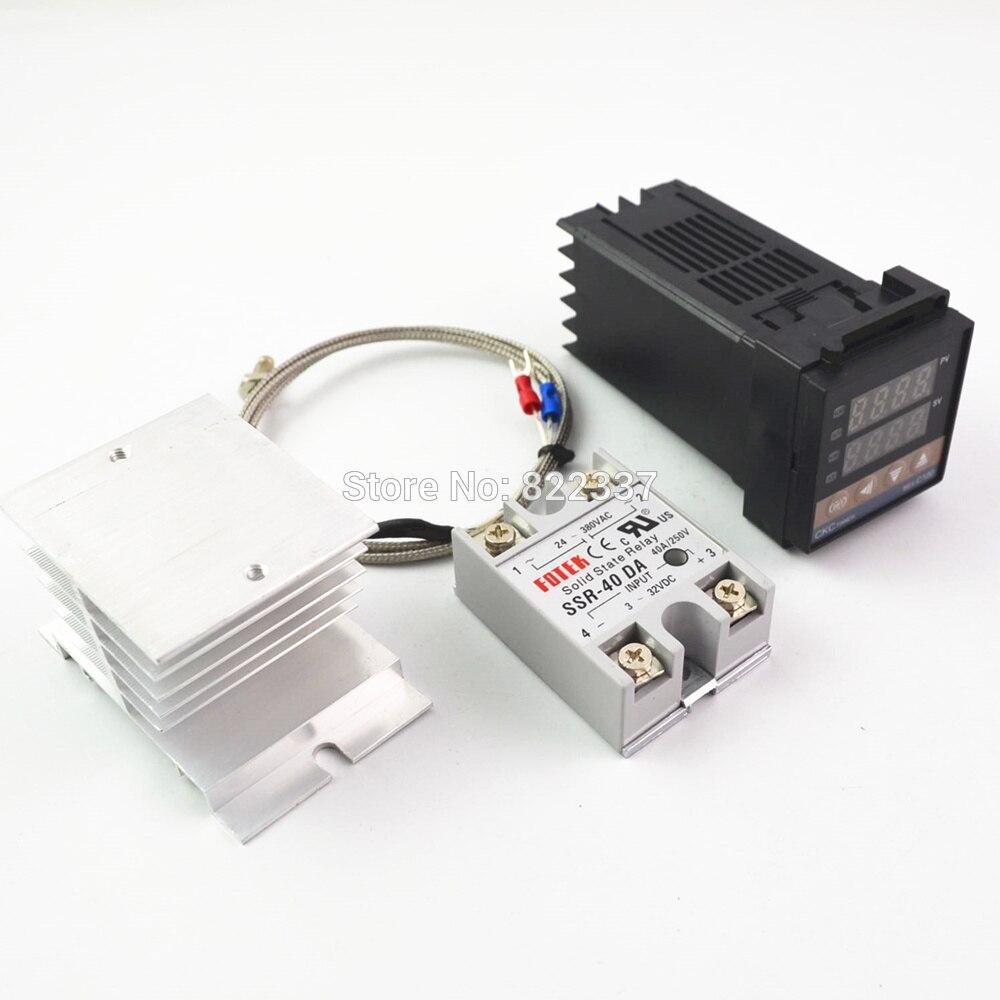 Régulateur de température de REX-C100 PID 100-240VAC numérique + Thermocouple max.40A SSR + K, ensemble de contrôleur PID + dissipateur de chaleur