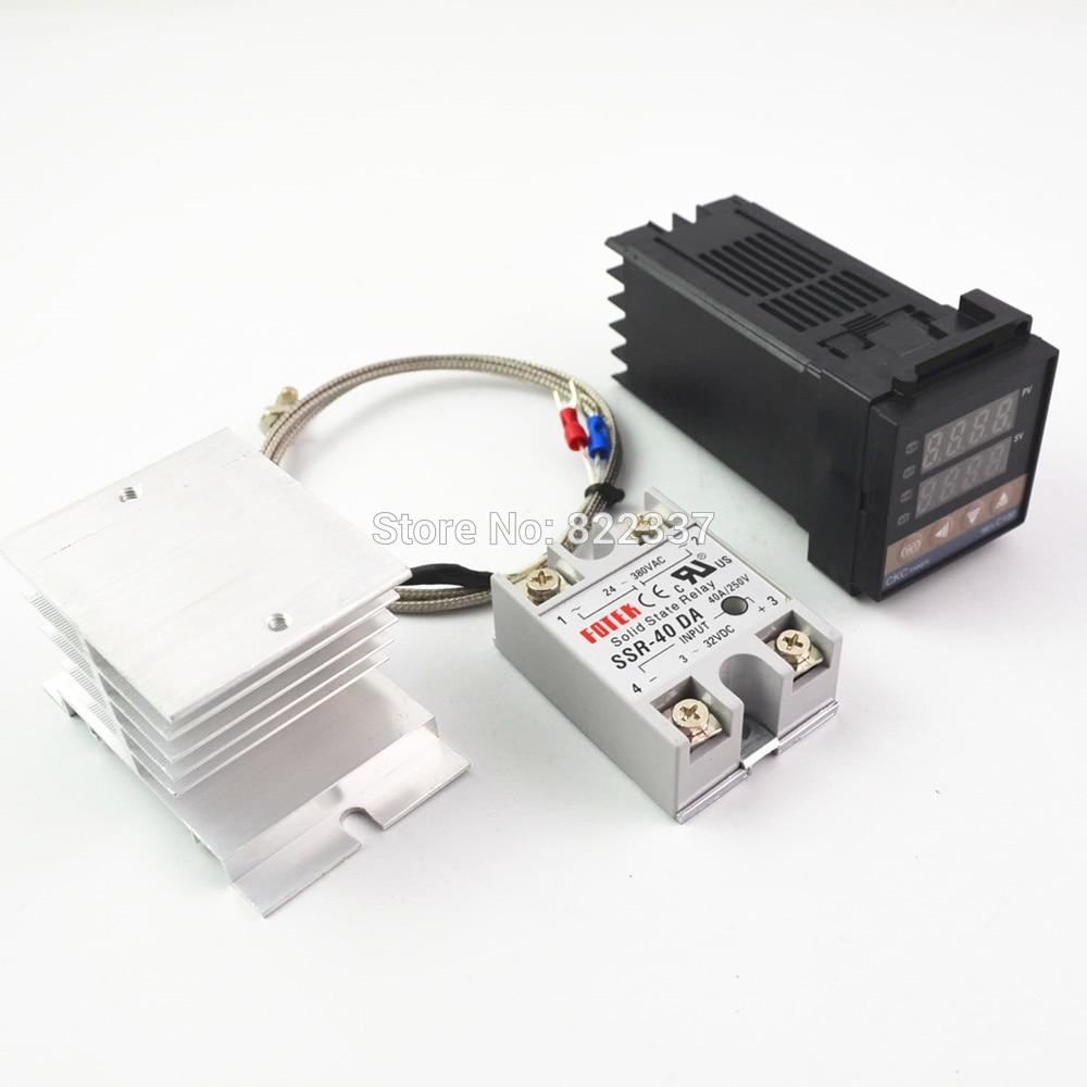 Digitale 100-240VAC PID REX-C100 Temperatur Controller + max.40A SSR + K Thermoelement, PID Controller Set + Kühlkörper